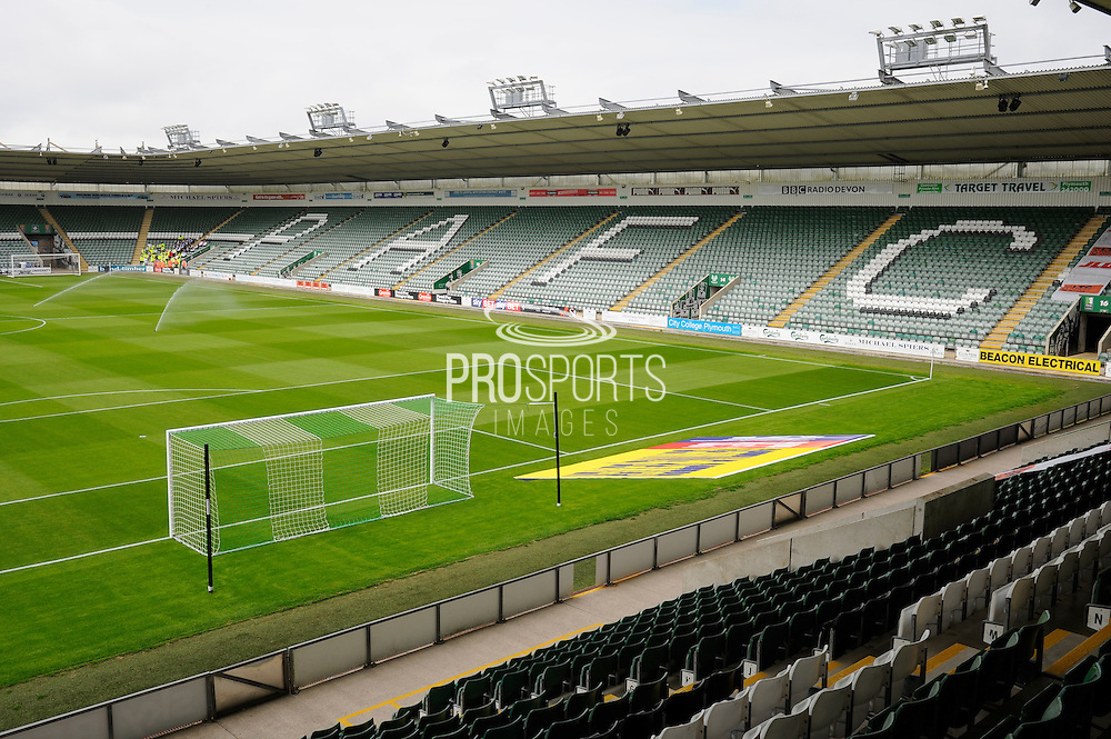 Plymouth Argyle's Home Park stadium before their first match of the new season against Luton Town in the EFL Sky Bet League 2 match between Plymouth Argyle and Luton Town at Home Park, Plymouth, England on 6 August 2016. Photo by Graham Hunt.