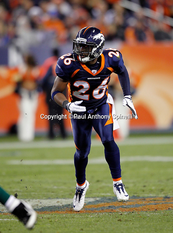 Denver Broncos free safety Rahim Moore (26) chases the action during the NFL week 11 football game against the New York Jets on Thursday, November 17, 2011 in Denver, Colorado. The Broncos won the game 17-13. ©Paul Anthony Spinelli