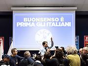 Il leader della Lega Nord Matteo Salvini durante la chiusura della campagna elettorale. Milano, 2 marzo 2018. Guido Montani / OneShot<br /> <br /> Lega Nord leader Matteo Salvini attends the last meeting before the elections. Milan, march 2 2018.<br /> Guido Montani / OneShot