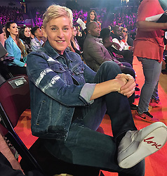 """Ellen DeGeneres releases a photo on Instagram with the following caption: """"Thank you to all the kids who chose me! #KCAs"""". Photo Credit: Instagram *** No USA Distribution *** For Editorial Use Only *** Not to be Published in Books or Photo Books ***  Please note: Fees charged by the agency are for the agency?s services only, and do not, nor are they intended to, convey to the user any ownership of Copyright or License in the material. The agency does not claim any ownership including but not limited to Copyright or License in the attached material. By publishing this material you expressly agree to indemnify and to hold the agency and its directors, shareholders and employees harmless from any loss, claims, damages, demands, expenses (including legal fees), or any causes of action or allegation against the agency arising out of or connected in any way with publication of the material."""