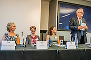 Enterprising Women - an event to mark the 40th anniversary of co-residence at St Catherine's College, Oxford (Catz).  A discussion panel featured author, journalist and research Fellow Harriet Sergeant (1974, English), Chief Executive of NS&I Jane Platt (1975, Modern Languages), and presenter and hotelier Alex Polizzi (1990, English) of The Hotel Inspector. Each of these Catz alumnae has gone on to forge a successful career in their chosen profession -  they discussed their achievements and their experiences along the way. RIBA, London 25 September 2014. Guy Bell, 07771 786236, guy@gbphotos.com