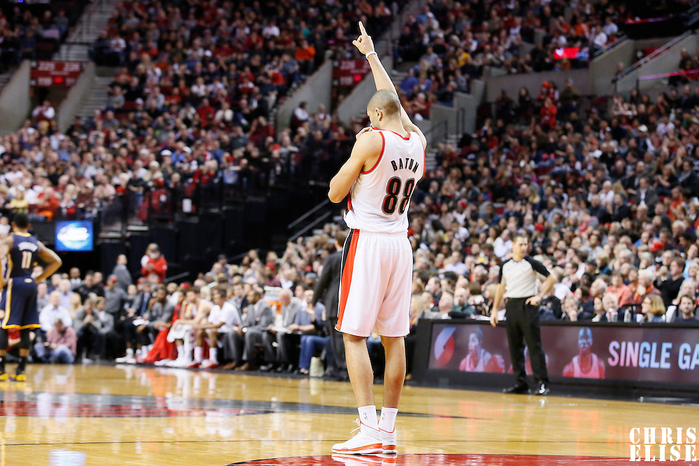 02 December 2013: Portland Trail Blazers small forward Nicolas Batum (88) celebrates during the Portland Trail Blazers 106-102 victory over the Indiana Pacers at the Moda Center, Portland, Oregon, USA.