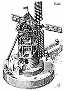 Tower mill: Sectional view of windmill showing grain being fed into millstones in centre. Miller is turning cap of mill round so that sails face into the wind. From German edition of Agostino Ramelli 'Le diverse et artifiiciose machine' published 1620. Engraving.