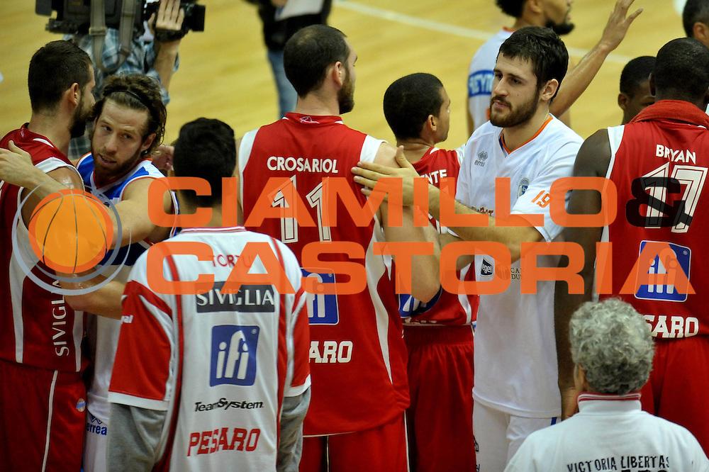DESCRIZIONE : Brindisi A 2012-13 Enel Brindisi Scavolini Pesaro<br /> GIOCATORE :  Andrea Zerini Andrea Crosariol <br /> CATEGORIA : FairPlay<br /> SQUADRA : Enel Brindisi <br /> EVENTO : Campionato Lega A 2012-2013 <br /> GARA : Enel Brindisi Scavolini Pesaro<br /> DATA : 11/11/2012<br /> SPORT : Pallacanestro <br /> AUTORE : Agenzia Ciamillo-Castoria/V.Tasco<br /> Galleria : Lega Basket A 2012-2013  <br /> Fotonotizia : Brindisi Lega A 2012-13 Enel Brindisi Scavolini Pesaro<br /> Predefinita :