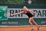 Urszula Radwanska from Poland competes in women's single round first while Day Third during Roland Garros 2014 at Roland Garros Tennis Club in Paris, France.<br /> <br /> France, Paris, May 27, 2014<br /> <br /> Picture also available in RAW (NEF) or TIFF format on special request.<br /> <br /> For editorial use only. Any commercial or promotional use requires permission.<br /> <br /> Mandatory credit:<br /> Photo by &copy; Adam Nurkiewicz / Mediasport