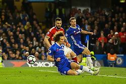 David Luiz of Chelsea clears the ball under pressure - Mandatory by-line: Jason Brown/JMP - 08/05/17 - FOOTBALL - Stamford Bridge - London, England - Chelsea v Middlesbrough - Premier League