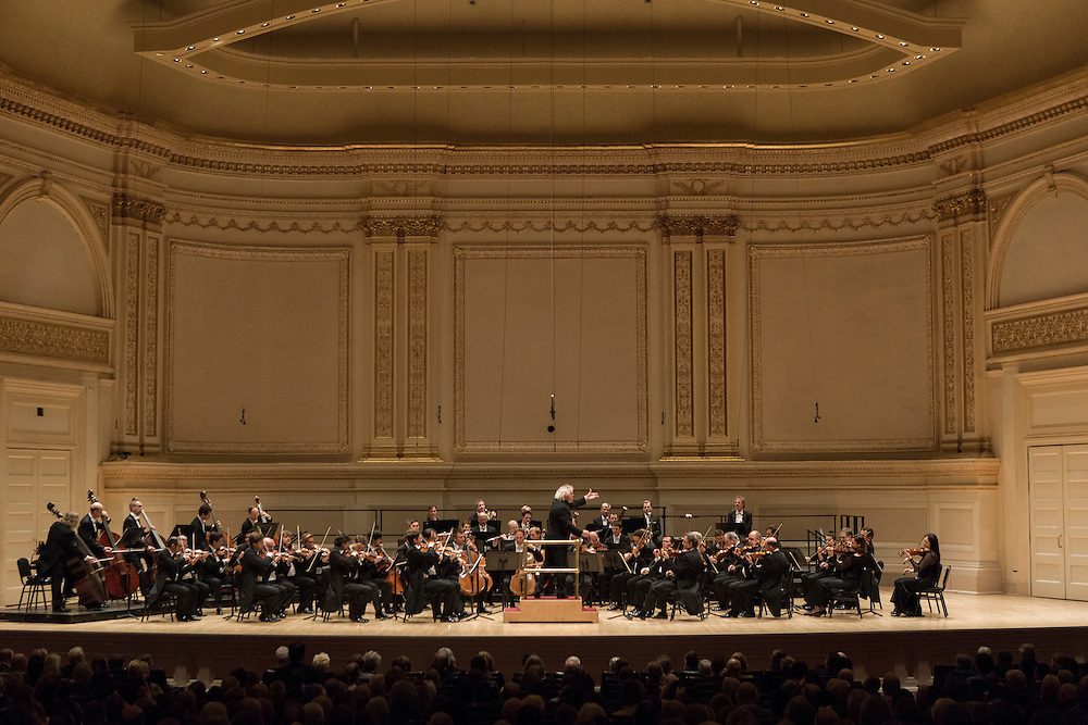Berliner Philharmoniker led by Sir Simon Rattle at New York City's Carnegie Hall Thursday November, 19 2015.  Program included Symphony No. 8 Symphony No. 6, &quot;Pastoral&quot;<br /> <br /> &quot;Beethoven&rsquo;s Symphony No. 8 is a high-energy romp that delights with its exuberant opening, second-movement metronome imitation, Haydn-like minuet, and rollicking finale. The &ldquo;Pastoral&rdquo; Symphony is one of the composer&rsquo;s most cherished creations: a five-movement masterpiece where birdcalls, a rowdy country dance, a thunderstorm, and rejoicing peasants are depicted with richly detailed orchestration.&quot;