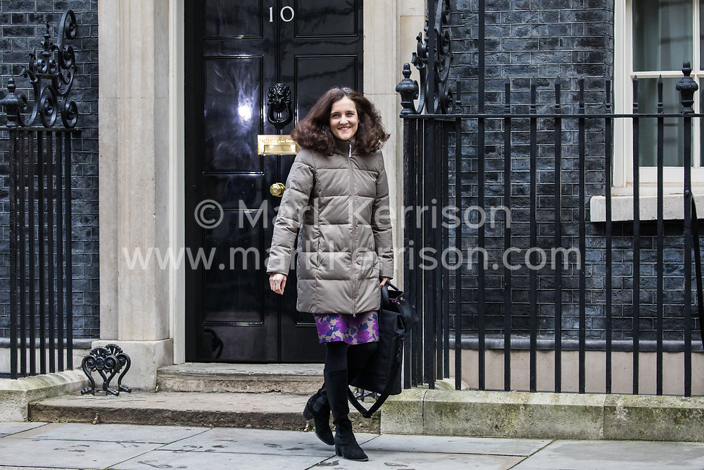 London, UK. 7 January, 2020. Theresa Villiers, Secretary of State for Environment, Food and Rural Affairs, leaves 10 Downing Street following a Cabinet meeting.