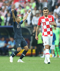 MOSCOW, July 15, 2018  Kylian Mbappe (L) of France celebrates victory after the 2018 FIFA World Cup final match between France and Croatia in Moscow, Russia, July 15, 2018. France defeated Croatia 4-2 and claimed the title. (Credit Image: © Fei Maohua/Xinhua via ZUMA Wire)