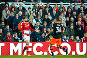 Middlesbrough forward Christian Stuani (18) heads the ball into play during the The FA Cup match between Middlesbrough and Sheffield Wednesday at the Riverside Stadium, Middlesbrough, England on 8 January 2017. Photo by Simon Davies.