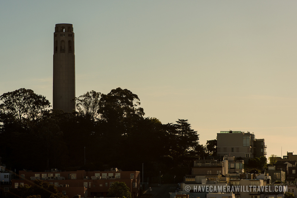 Coit Tower on top of Telegraph Hill in San Francisco, California. The tower was built in 1933 from funds bequeathed by Lillie Hitchcocl Coit.