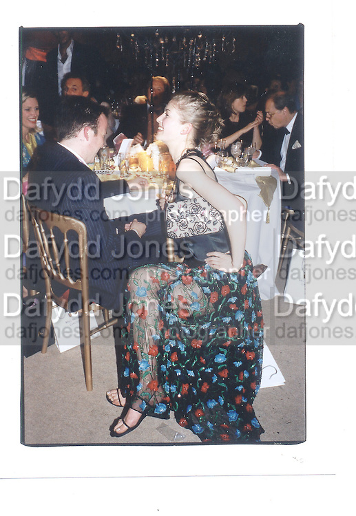 Andre Schneider and Rosamond Pike, Indian Palace Ball, St James's Square, 8th July 2002© Copyright Photograph by Dafydd Jones 66 Stockwell Park Rd. London SW9 0DA Tel 020 7733 0108 www.dafjones.com