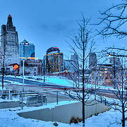 Kansas City Skyline from Kauffman Center in snow.