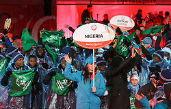 18.03.2017, Planai-Stadion, Schladming, AUT, Special Olympics 2017, Wintergames, Eröffnungsfeier, im Bild der Einmarsch der Delegation aus Nigeria // the delegation of Nigeria during the opening ceremony in the Planai Stadium at the Special Olympics World Winter Games Austria 2017 in Schladming, Austria on 2017/03/17. EXPA Pictures © 2017, PhotoCredit: EXPA / Martin Huber