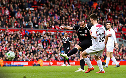 Charlie Adam fires a shot towards goal   - Photo mandatory by-line: Dougie Allward/JMP - Mobile: 07966 386802 - 29/03/2015 - SPORT - Football - Liverpool - Anfield Stadium - Gerrard's Squad v Carragher's Squad - Liverpool FC All stars Game