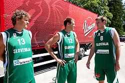 Miha Zupan, Goran Jagodnik and Matjaz Smodis during filming of video for Eurobasket Lithuania 2011 of Slovenian National Basketball team during training camp in Kranjska Gora, on July 12, 2011, in Kranjska Gora, Slovenia. (Photo by Vid Ponikvar / Sportida)