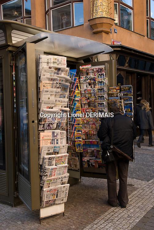 Newsagent in Prague, Czech republic.