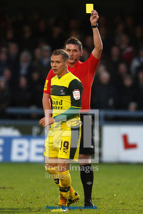 Picture by Daniel Chesterton/Focus Images Ltd +44 7966 018899.04/11/2012.Joe Lennox of Plymouth Argyle reacts after being booked during the The FA Cup match at the Avenue Stadium, Dorchester.