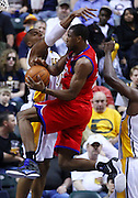 March 14, 2012; Indianapolis, IN, USA; Philadelphia 76ers forward Thaddeus Young (21) takes the ball to the hoop against Indiana Pacers power forward David West (21) at Bankers Life Fieldhouse. Indiana defeated Philadelphia 111-94. Mandatory credit: Michael Hickey-US PRESSWIRE