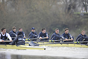 Putney, GREAT BRITAIN,    Bear left to right, Tim FARQUHARSON, 2. Ben ROSENBERGER, 3. Mike VALLI. 4. Alex HEARNE, 6 Tom SOLESBURY, 7 George BRIDGEWATER as both crews race along Dukes Meadows, during the 2008 Varsity/Oxford University [OUBC] Trial Eights, raced over the championship course. Putney to Mortlake, on the River Thames. Thurs. 11.08.2008 [Mandatory Credit, Peter Spurrier/Intersport-images] Varsity Boat Race, Rowing Course: River Thames, Championship course, Putney to Mortlake 4.25 Miles,