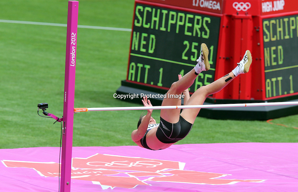 Athletics, London 2012 Olympic Games, Olympic Stadium, London, England 3/8/2012<br /> Women's Heptathlon High Jump <br /> New Zealand's Sarah Cowley<br /> Mandatory Credit &copy;INPHO/Dan Sheridan