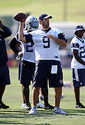 Dallas Cowboys quarterback Tony Romo (9) throws a pass during the second day of the Dallas Cowboys 2016 NFL training camp football practice held on Sunday, July 31, 2016 in Oxnard, Calif. (©Paul Anthony Spinelli)