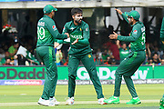 Wicket - Mohammad Amir of Pakistan celebrates taking the wicket of Soumya Sarkar of Bangladesh during the ICC Cricket World Cup 2019 match between Pakistan and Bangladesh at Lord's Cricket Ground, St John's Wood, United Kingdom on 5 July 2019.
