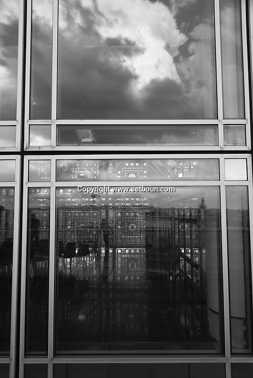 France. Paris. Institut du monde arabe, the terace with a view on the Seine River, Notre dame and Saint Louis island