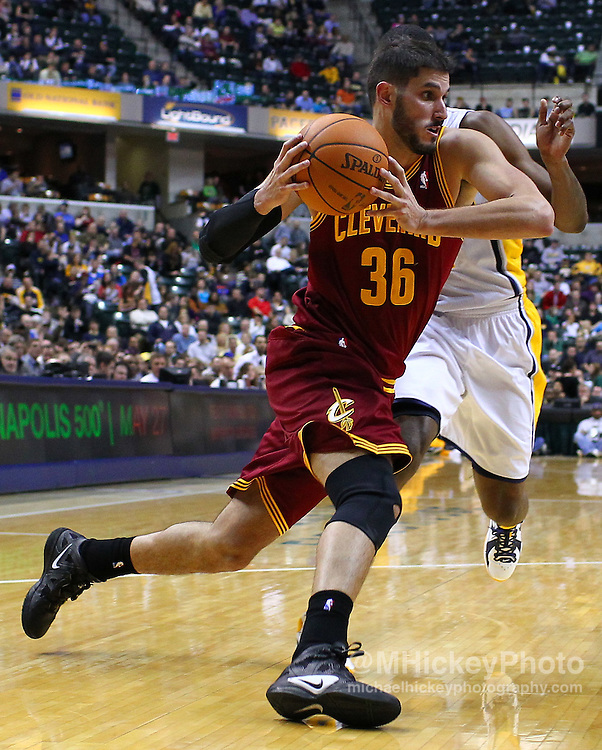 Dec. 30, 2011; Indianapolis, IN, USA; Cleveland Cavaliers small forward Omri Casspi (36) dribbles the ball to the basket against the Indiana Pacers at Bankers Life Fieldshouse. Indiana defeated Cleveland 81-91. Mandatory credit: Michael Hickey-US PRESSWIRE
