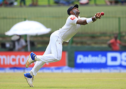 August 12, 2017 - Colombo, Sri Lanka - Sri Lankan cricketer Lahiru Kumara drops a catch during the 1st Day's play in the 2nd Test match between Sri Lanka and India at the Pallekele International cricket stadium, Kandy, Sri Lanka on Saturday 12 August 2017. (Credit Image: © Tharaka Basnayaka/NurPhoto via ZUMA Press)