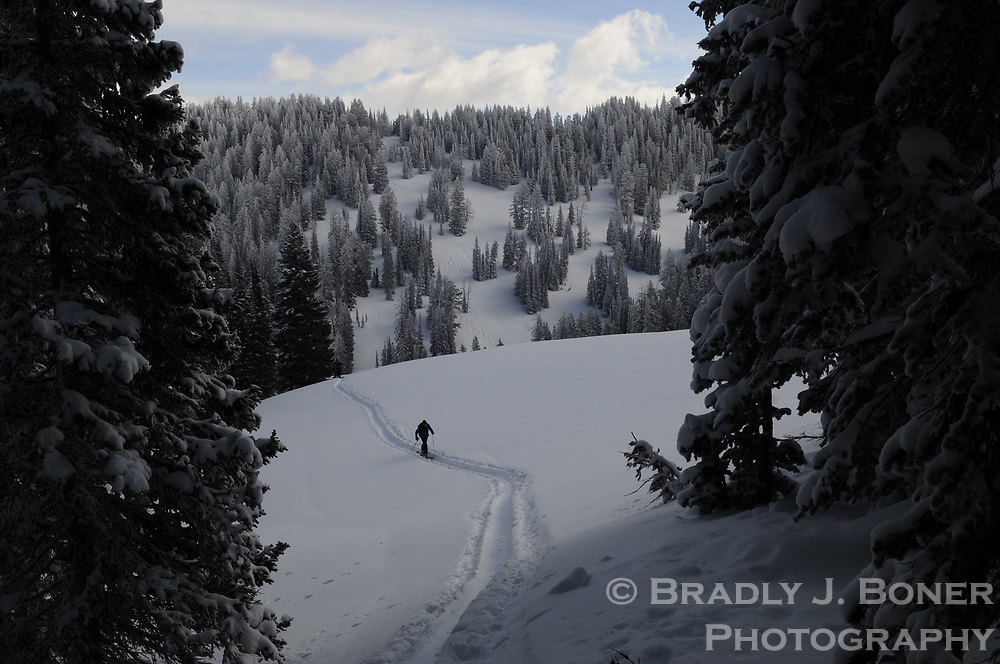 Skiing on the south side of Teton Pass