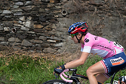 Race leader Megan Guarnier is happy to rest in the bunch, keeping her rivals in sight at the final stage of the Giro Rosa 2016 on 10th July 2016. A 104km road race starting and finishing in Verbania, Italy.