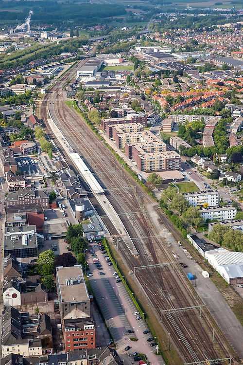 Nederland, Limburg, Roermond, 27-05-2013;<br /> Station en emplacement<br /> Roermond town centre with railway staion and yard..<br /> luchtfoto (toeslag op standard tarieven)<br /> aerial photo (additional fee required)<br /> copyright foto/photo Siebe Swart