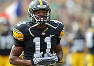 September 24, 2011: Iowa Hawkeyes wide receiver Kevonte Martin-Manley (11) is pumped up before the start of the game between the Iowa Hawkeyes and the Louisiana Monroe Warhawks at Kinnick Stadium in Iowa City, Iowa on Saturday, September 24, 2011. Iowa defeated Louisiana Monroe 45-17.