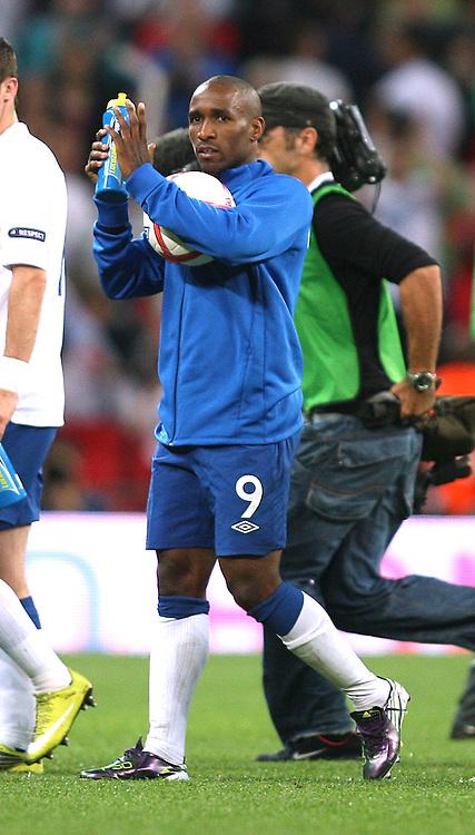 03/09/2010 International football. England v Bulgaria.<br /> Jermain Defoe walks off with the match ball after his 3 goals.<br /> Photo: Mark Leech.