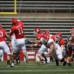Apr 18, 2009; Piscataway, NJ, USA; Rutgers QB Domenic Natale (11) throws a pass just before BT Charlie Noonan (96) can reach him during the first half of Rutgers' Scarlet and White spring football scrimmage.