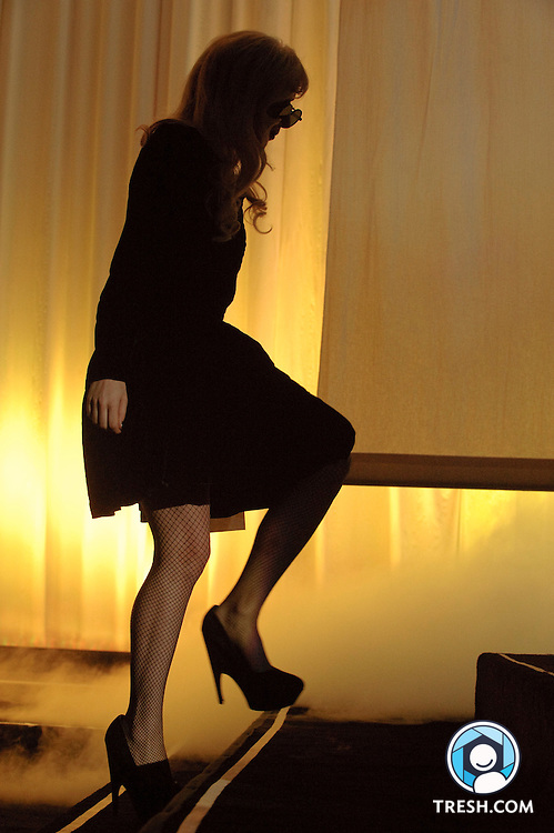 Lady Gaga enters the stage at the 13th Annual HRC National Dinner, Saturday, October 10, 2009, in Washington, DC.