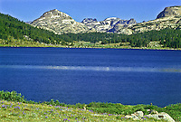 Island Lake on the Beartooth Plateau of the Beartooth Mountains.  Shoshoe National Forest, Wyoming.