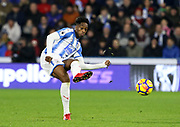 Huddersfield Town's Terence Kongolo during the Premier League match between Huddersfield Town and West Ham United at the John Smiths Stadium, Huddersfield, England on 13 January 2018. Photo by Paul Thompson.