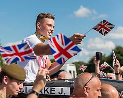 Victory Parade  for Olympic gold medalist Joe Clark in his home town of Stone, Staffordshire to celebrate his gold medal in the Mens Kayak (K1) at the 2016 Rio Olympics <br /> <br /> <br /> (c) John Baguley | Edinburgh Elite media
