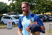 AFC Wimbledon midfielder Scott Wagstaff (7) arriving during the EFL Sky Bet League 1 match between AFC Wimbledon and Wycombe Wanderers at the Cherry Red Records Stadium, Kingston, England on 31 August 2019.