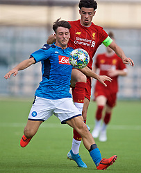 NAPLES, ITALY - Tuesday, September 17, 2019: Liverpool's captain Curtis Jones (R) and SSC Napoli's Vincenzo Potenza during the UEFA Youth League Group E match between SSC Napoli and Liverpool FC at Stadio Comunale di Frattamaggiore. (Pic by David Rawcliffe/Propaganda)