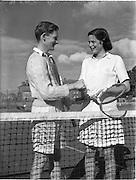 30/08/1952<br /> 08/30/1952<br /> 30 August 1952<br /> Tennis - Irish National Junior Championships at Fitzwilliam Tennis Club, Appian Way, Dublin.  John Neville Lavan  (Downside School, Somerset) and Miss Eleanor Carlyle, (Gardenurst School, Somerset) Irish Junior Mixed Double Tennis Champions.