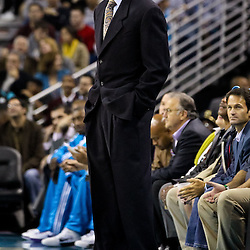 November 5, 2010; New Orleans, LA, USA; New Orleans Hornets head coach Monty Williams watches from the bench during a game against the Miami Heat at the New Orleans Arena. The Hornets defeated the Heat 96-93. Mandatory Credit: Derick E. Hingle