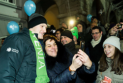 Blaz Blagotinsek with fans during reception of Slovenian National Handball Men team after they placed third at IHF World Handball Championship France 2017, on January 30, 2017 in Mestni trg, Ljubljana centre, Slovenia. Photo by Vid Ponikvar / Sportida