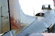 Montgomery, New York - A man looks out of a B-17 Flying Fortress bomber at Orange County Airport on Oct. 2, 2010. Three World War II planes from the Collings Foundation wereon display and available for tours and flights at Orange County Airport on Oct. 2, 2010.