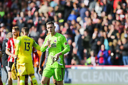 Sheffield United goalkeeper Dean Henderson (1) gestures to the crowd following the Premier League match between Sheffield United and Liverpool at Bramall Lane, Sheffield, England on 28 September 2019.