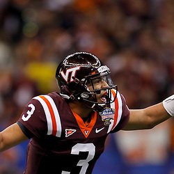 January 3, 2012; New Orleans, LA, USA; Virginia Tech Hokies quarterback Logan Thomas (3) calls a play at the line against the Michigan Wolverines during the first quarter of the Sugar Bowl at the Mercedes-Benz Superdome.  Mandatory Credit: Derick E. Hingle-US PRESSWIRE