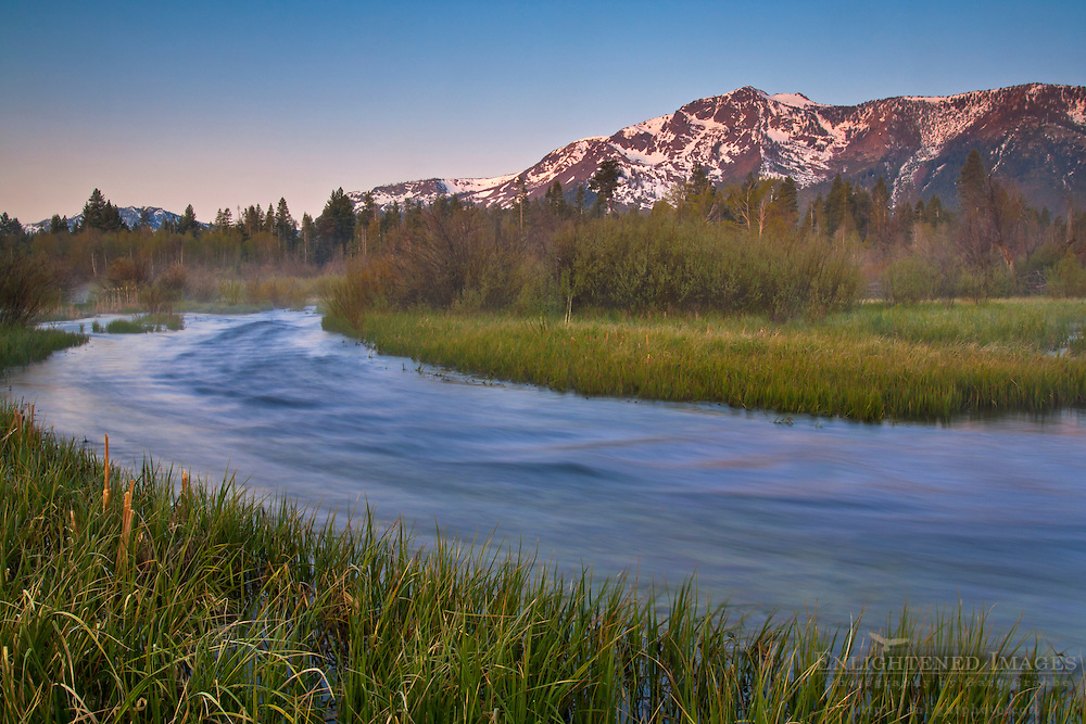 Mount Tallac at sunrise over Taylor Creek, near South Lake Tahoe, El Dorado County, California