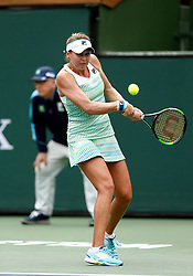 March 10, 2019 - Indian Wells, CA, U.S. - INDIAN WELLS, CA - MARCH 10: Kateryna Kozlova (UKR) hits a backhand during the third round of the BNP Paribas Open on March 10, 2019, at the Indian Wells Tennis Gardens in Indian Wells, CA. (Photo by Adam Davis/Icon Sportswire) (Credit Image: © Adam Davis/Icon SMI via ZUMA Press)